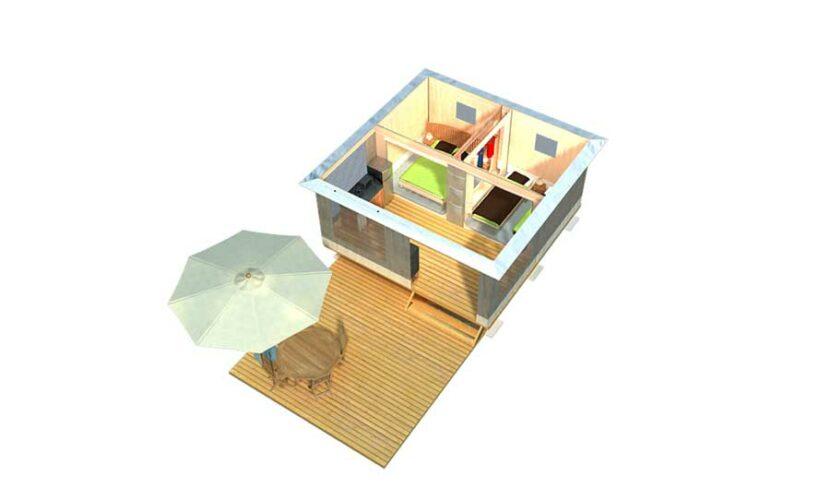 Plan 3D d'un bungalow au camping de la moselle