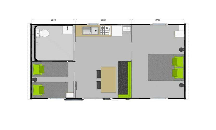 Plan d'un mobil-home PMR au camping les violettes