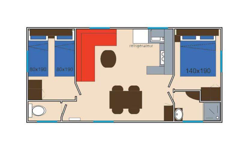 Plan d'un mobil-home au camping les violettes