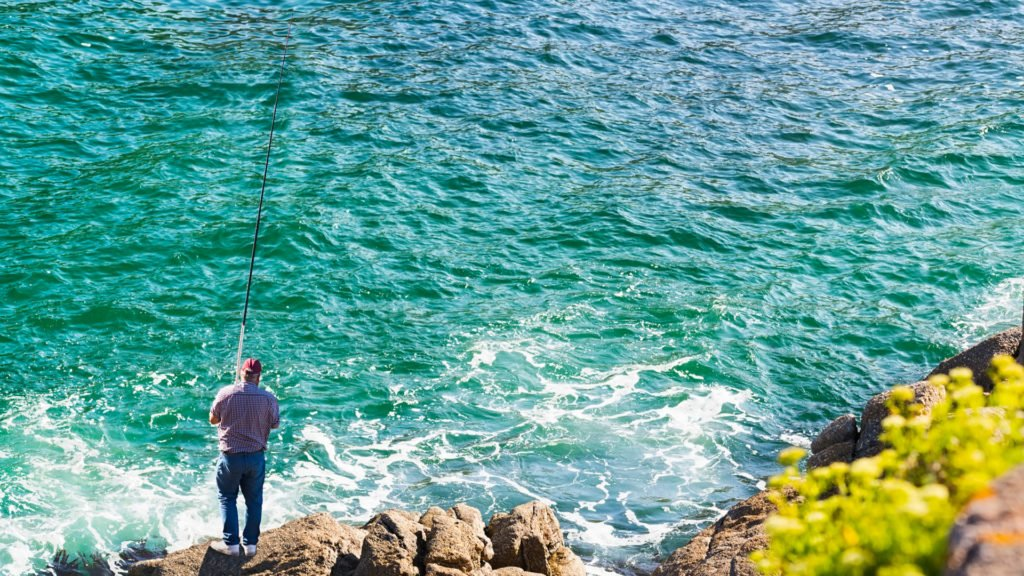 Pêcher depuis les enrochements